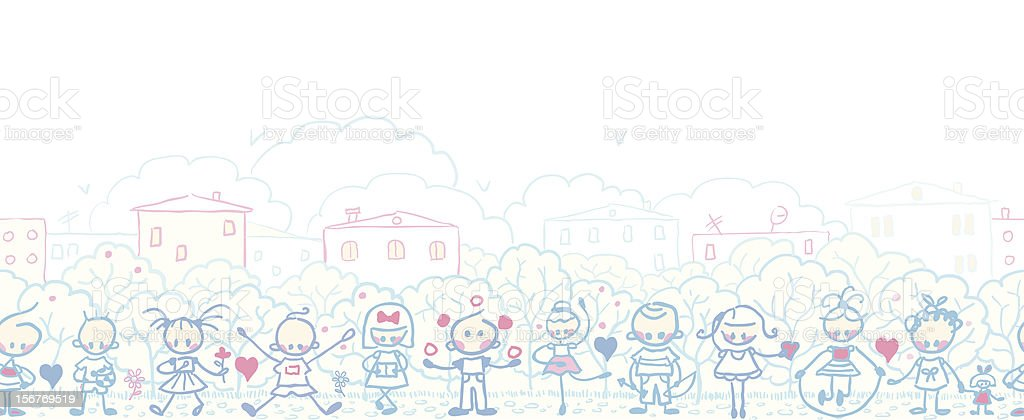 Children playing horizontal seamless pattern royalty-free stock vector art