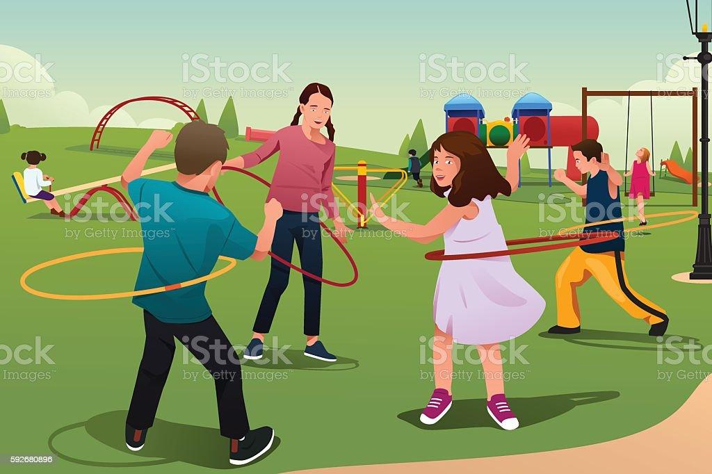 Children Playing Hula Hoop vector art illustration
