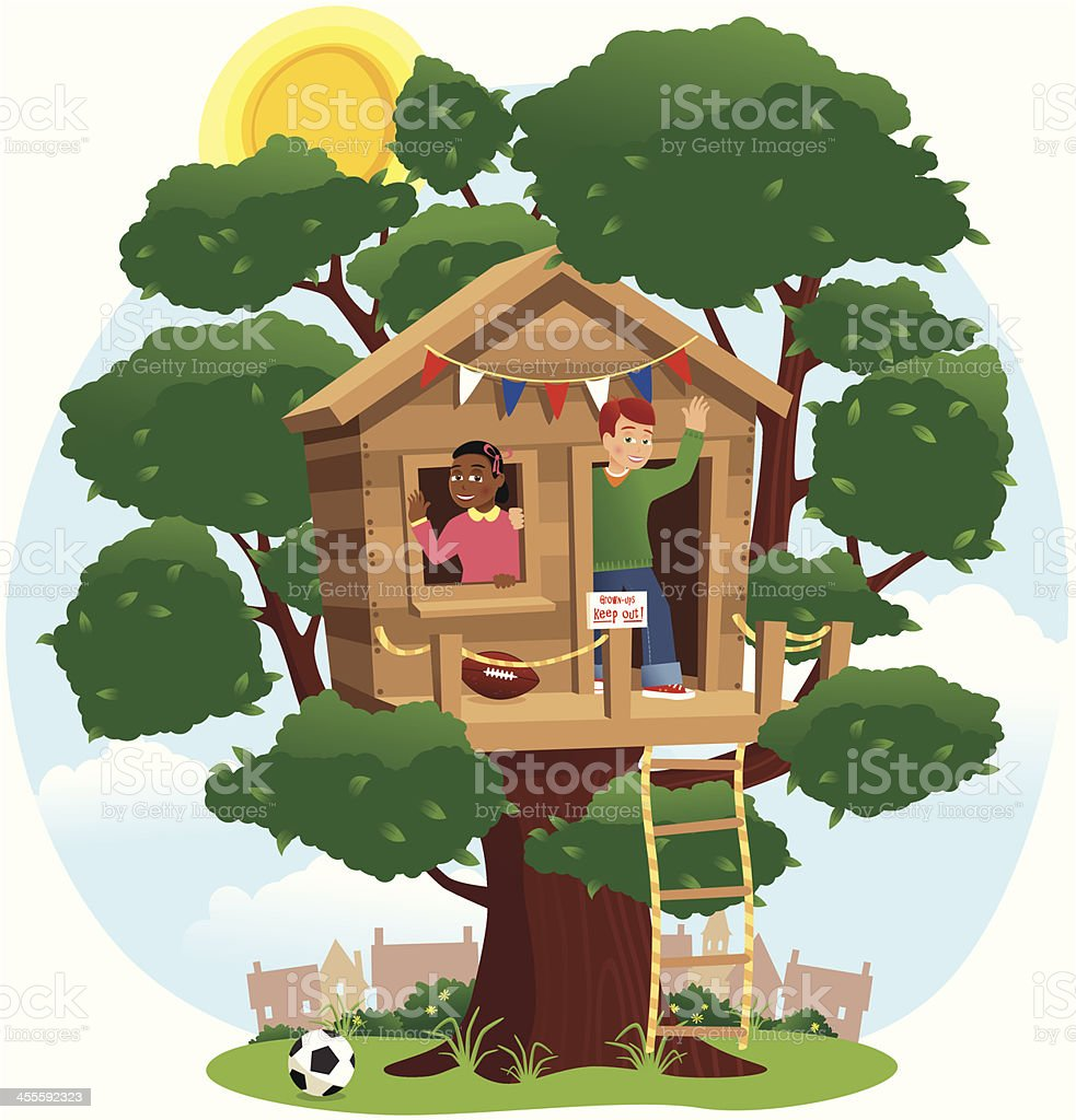 Children playing in a treehouse vector art illustration