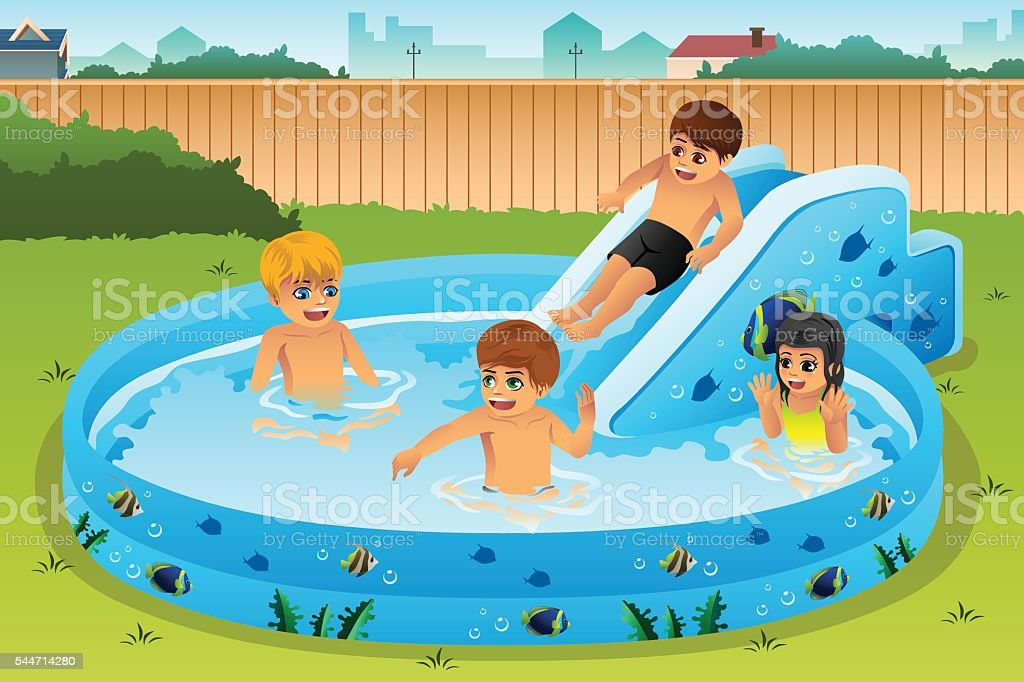 Children Playing in Inflatable Pool vector art illustration