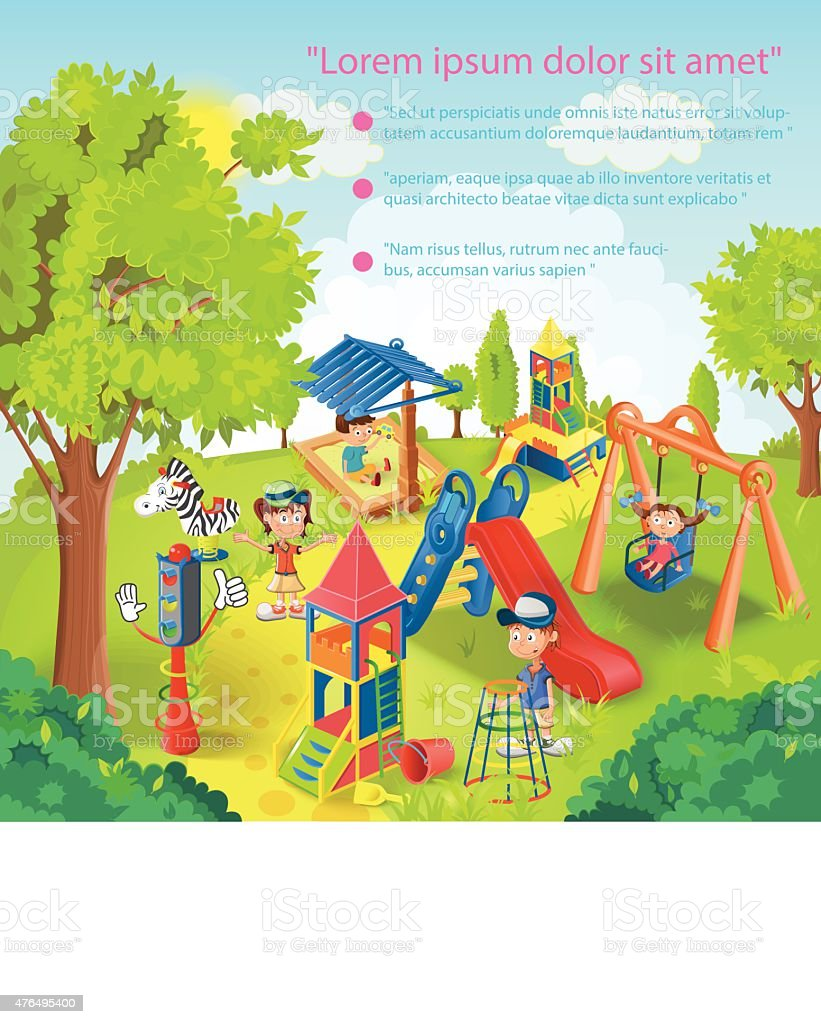 Children playing in the park vector illustration vector art illustration