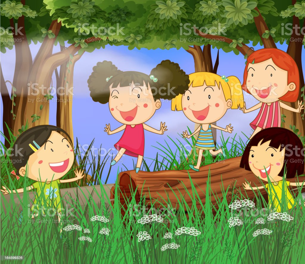 Children playing in the woods royalty-free stock vector art