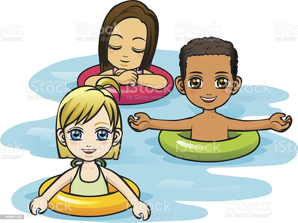 Children Playing in Water with Tubes vector art illustration