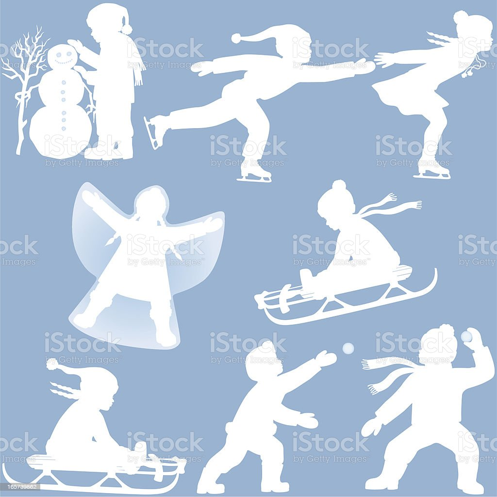 Children playing in Winter silhouettes vector art illustration