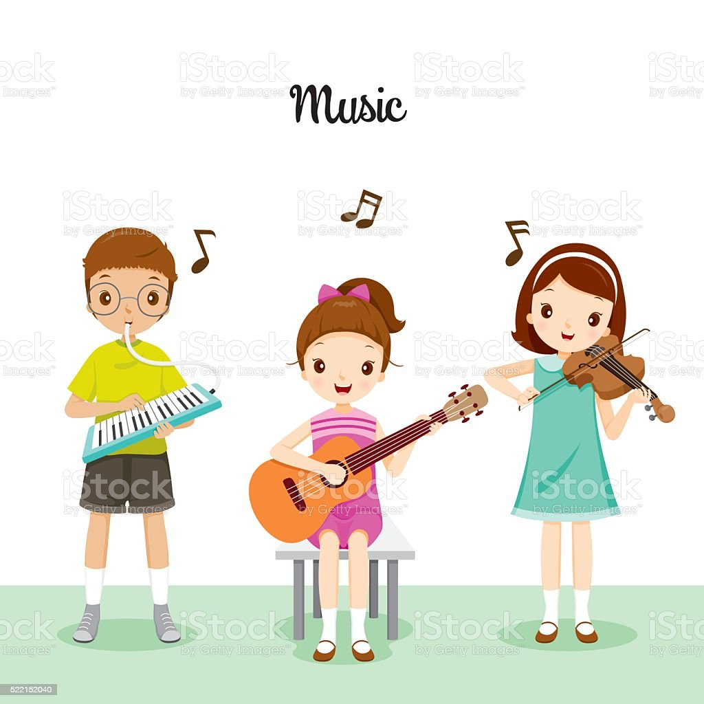Children Playing Music By Harmonium, Guitar And Violin vector art illustration