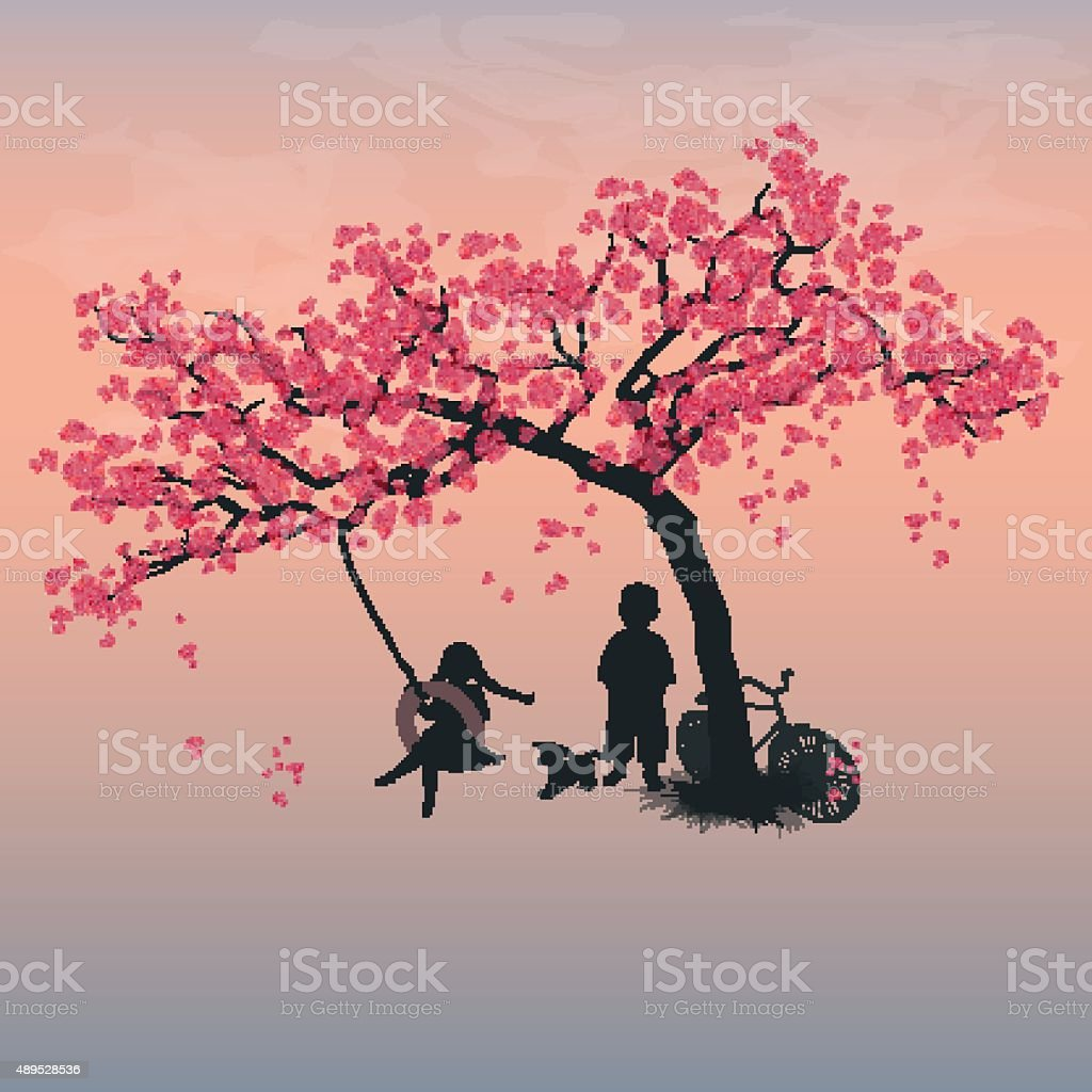 Children playing on a tire swing vector art illustration
