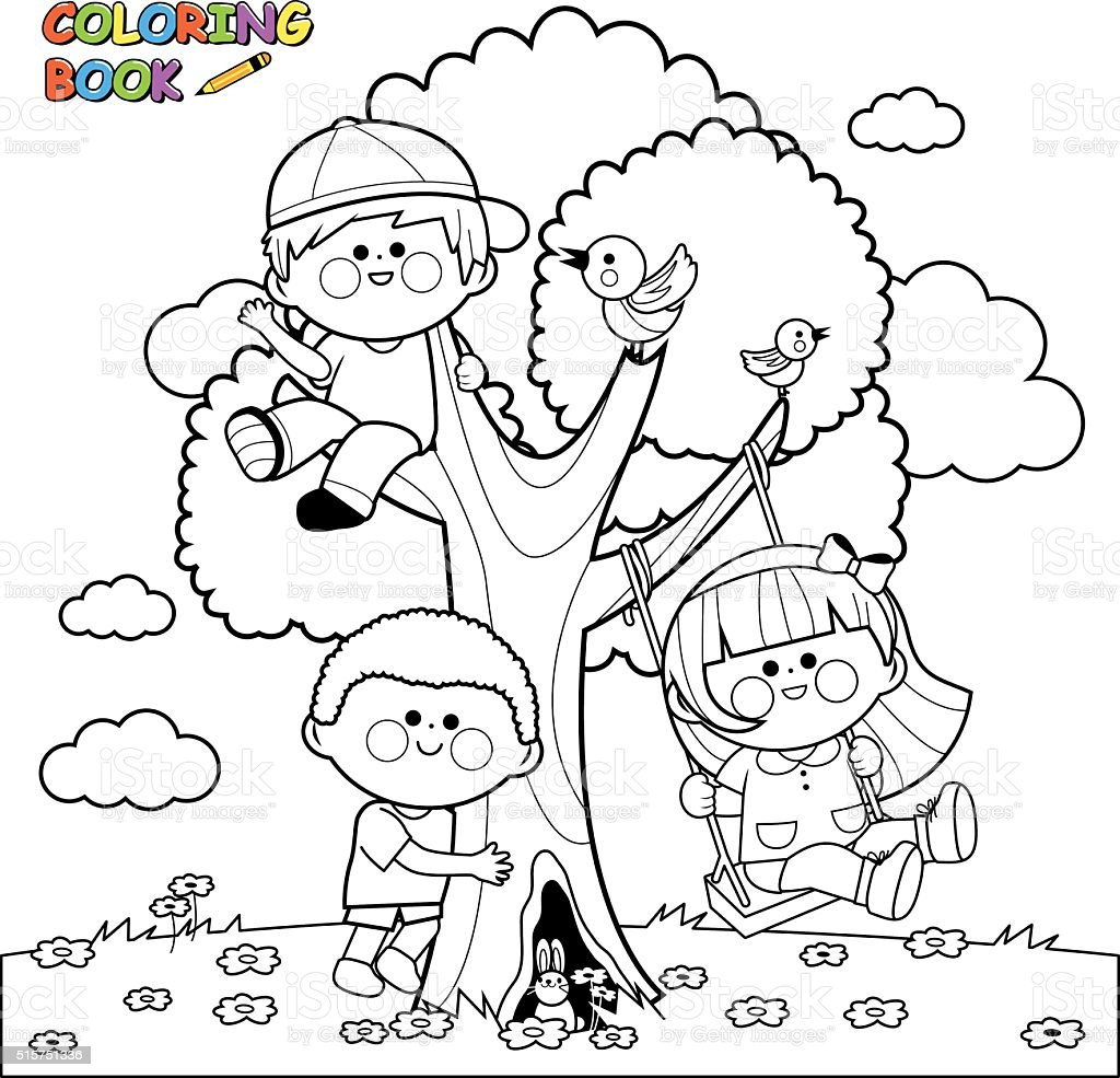 Children playing on a tree coloring book page vector art illustration