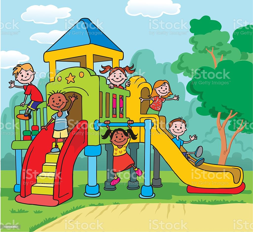 Children Playing On Playground stock vector art 158990601 ...