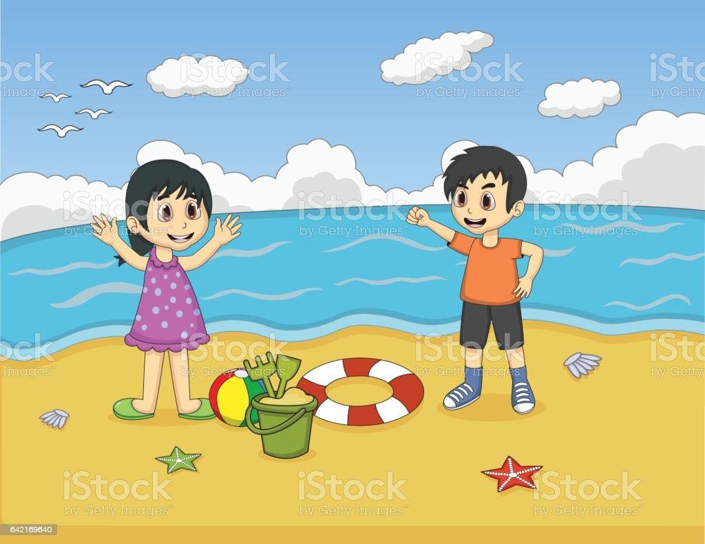 Children playing on the beach cartoon vector art illustration