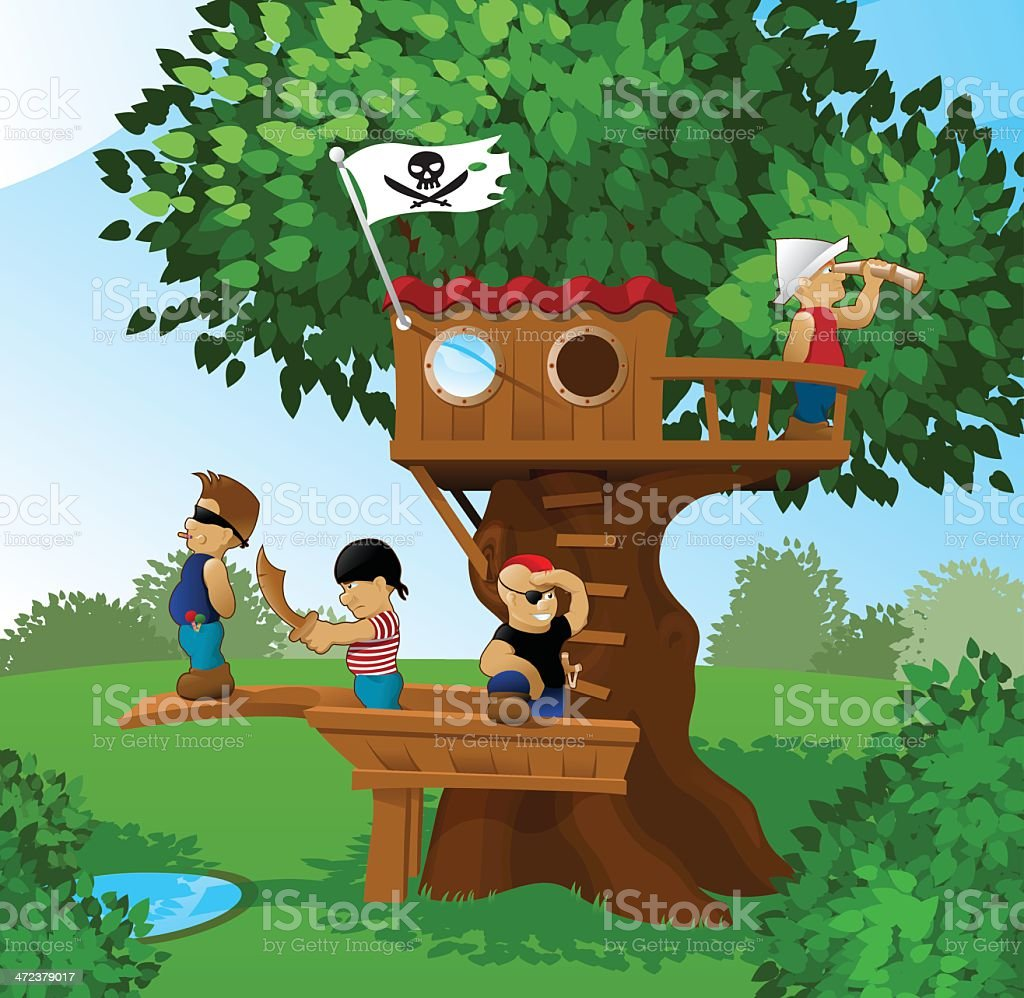 Children playing pirates vector art illustration
