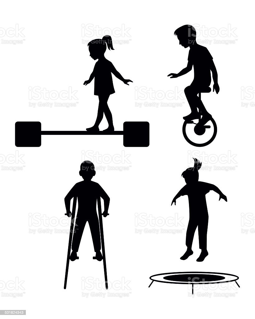 Children playing silhouettes vector art illustration