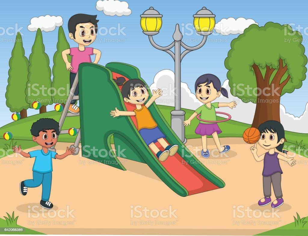Children playing slide at the park cartoon vector art illustration