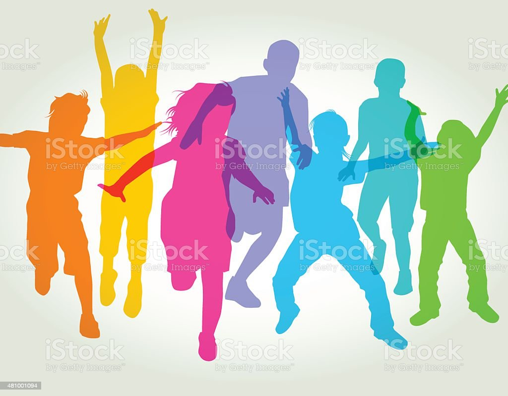 Children Playing vector art illustration