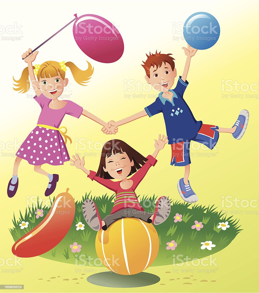 Children Playing with Balls and Balloons royalty-free stock vector art