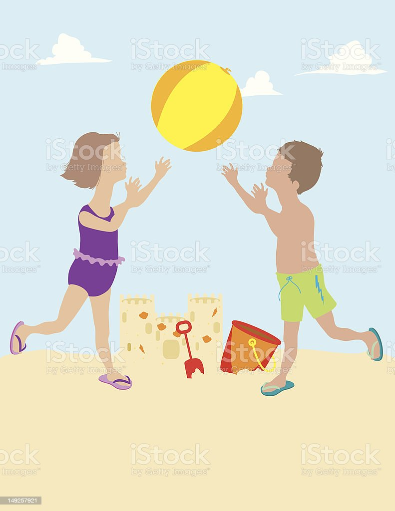 Children Playing with Beach Ball royalty-free stock vector art