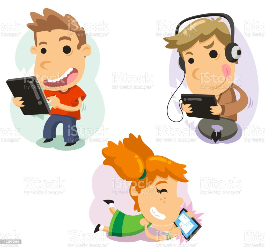 Children playing with computer tablets Technology vector art illustration