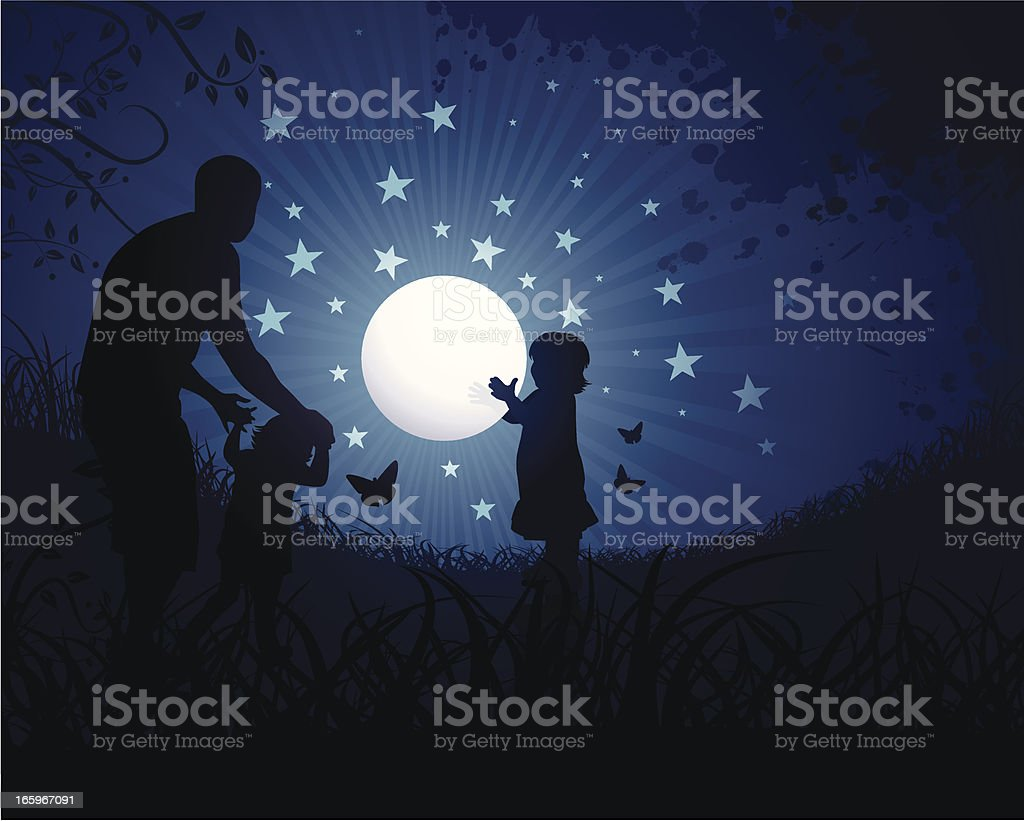Children playing with the moon royalty-free stock vector art