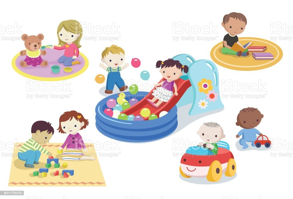 Children playing with toys in kindergarten vector art illustration