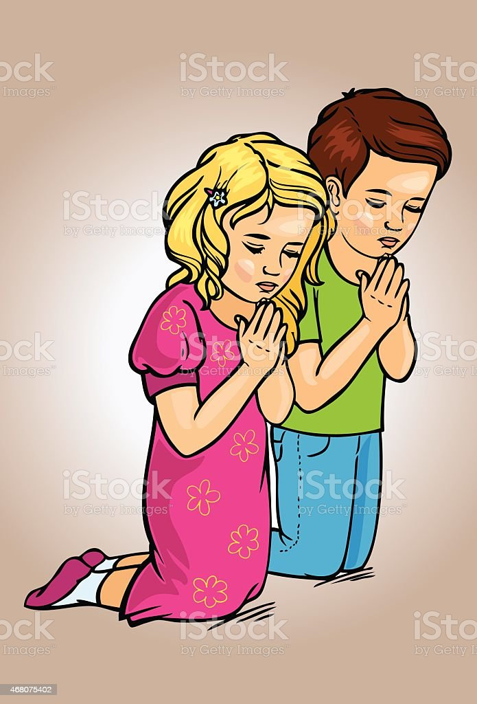 kids praying clip art vector images amp illustrations istock