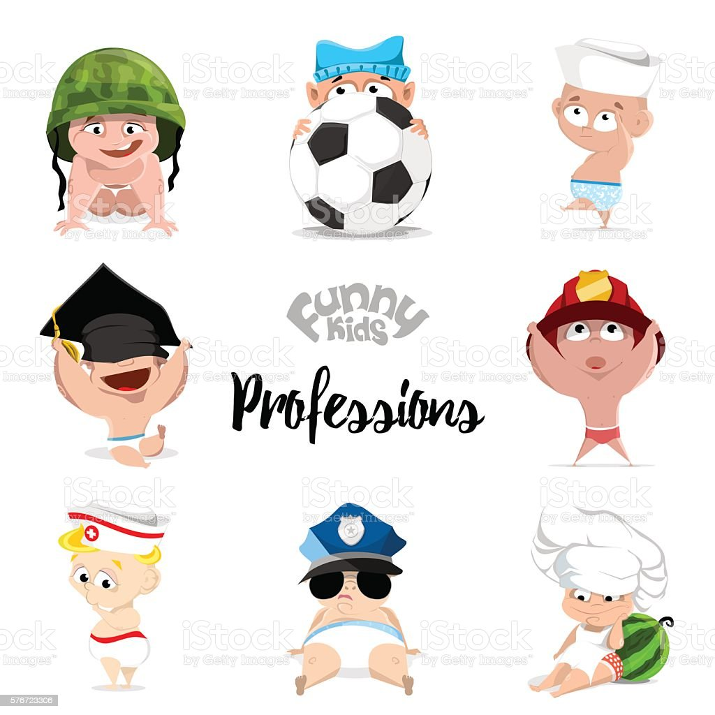 Sailor stock photos illustrations and vector art - Children Professions Set Nurse Policeman Fireman Footballer Chef Sailor