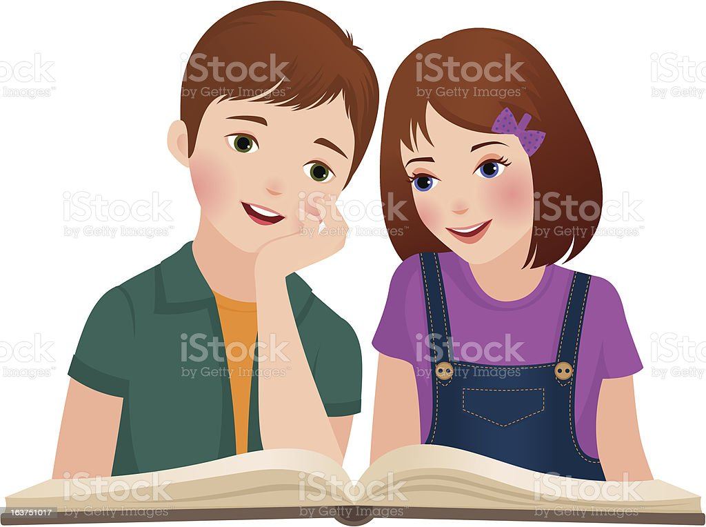 Children read the book royalty-free stock vector art