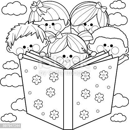 Children Reading A Book Coloring Book Page stock vector art ...