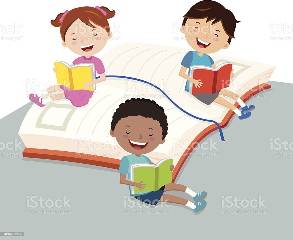 Children reading books vector art illustration