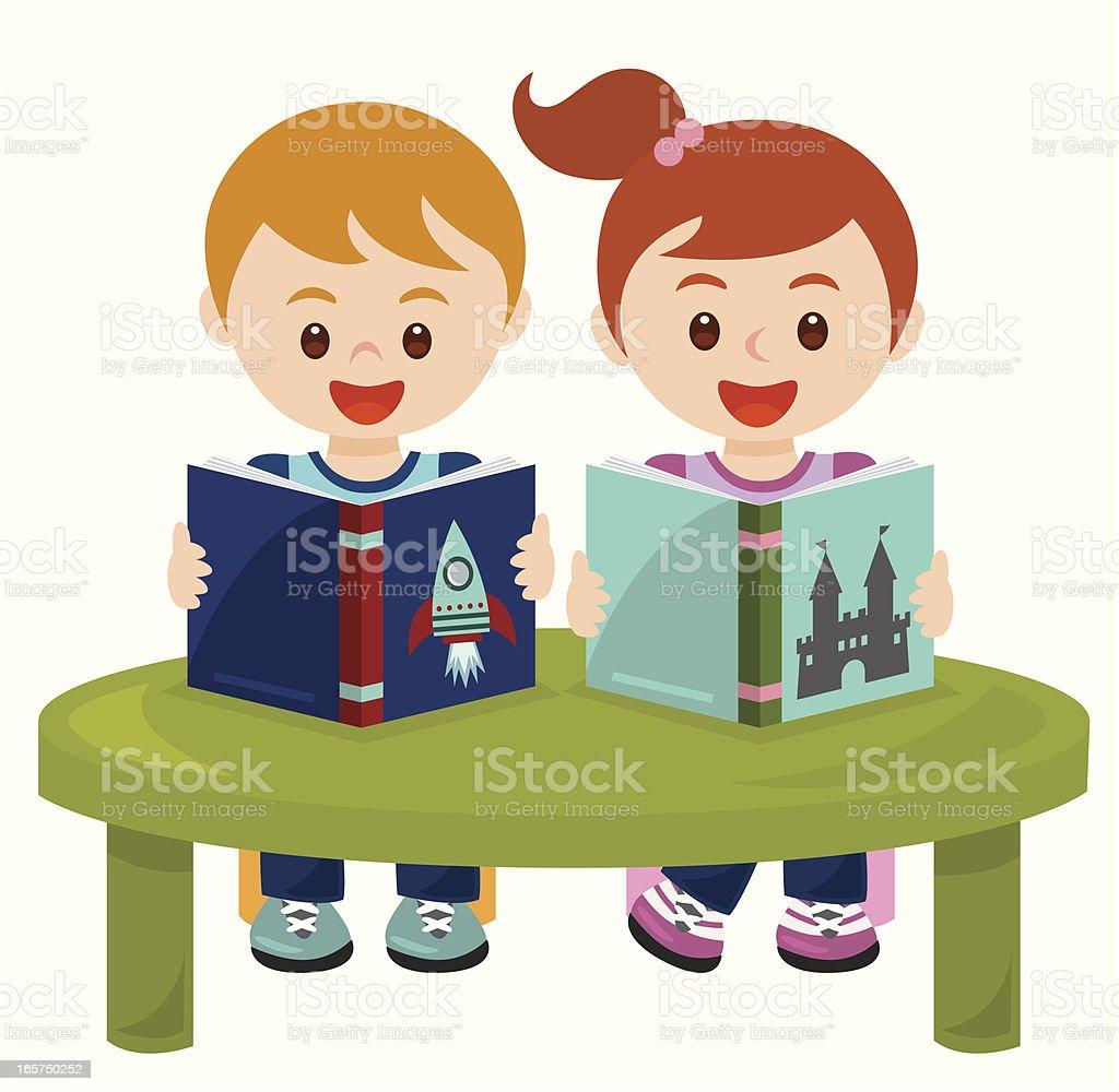 children reading group royalty-free stock vector art