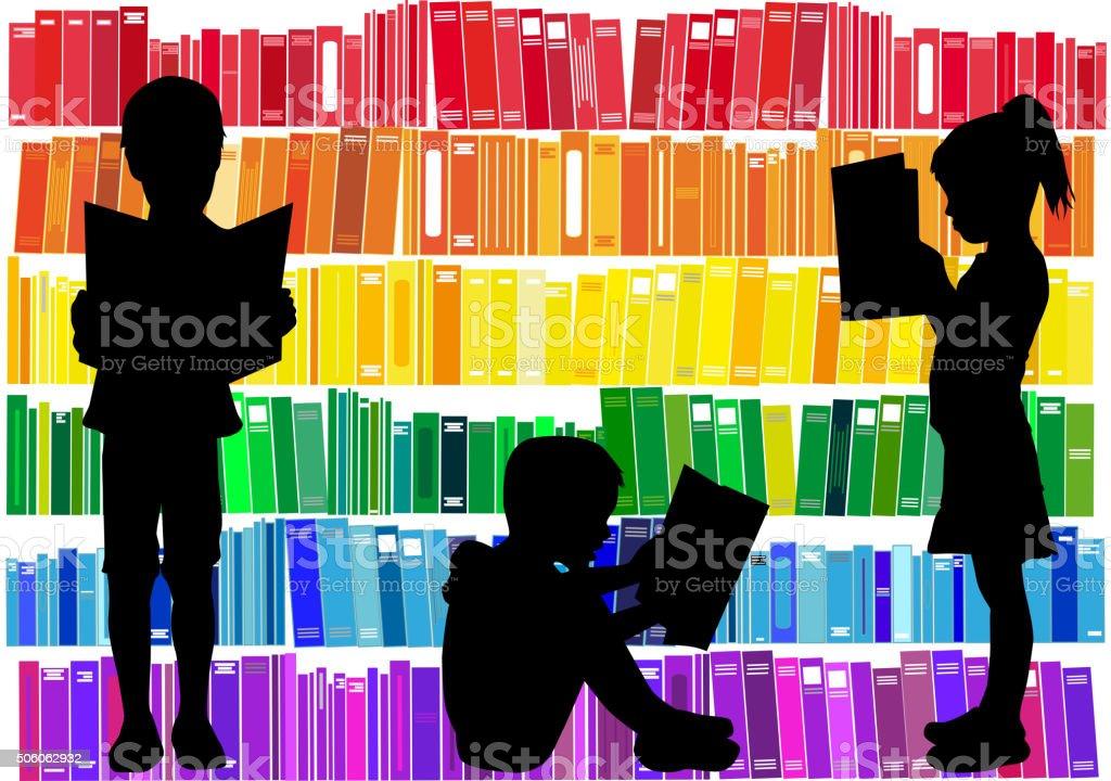 Children reading the book. vector art illustration
