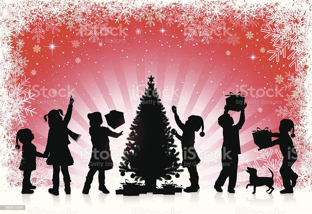 Children receive gifts for Christmas vector art illustration
