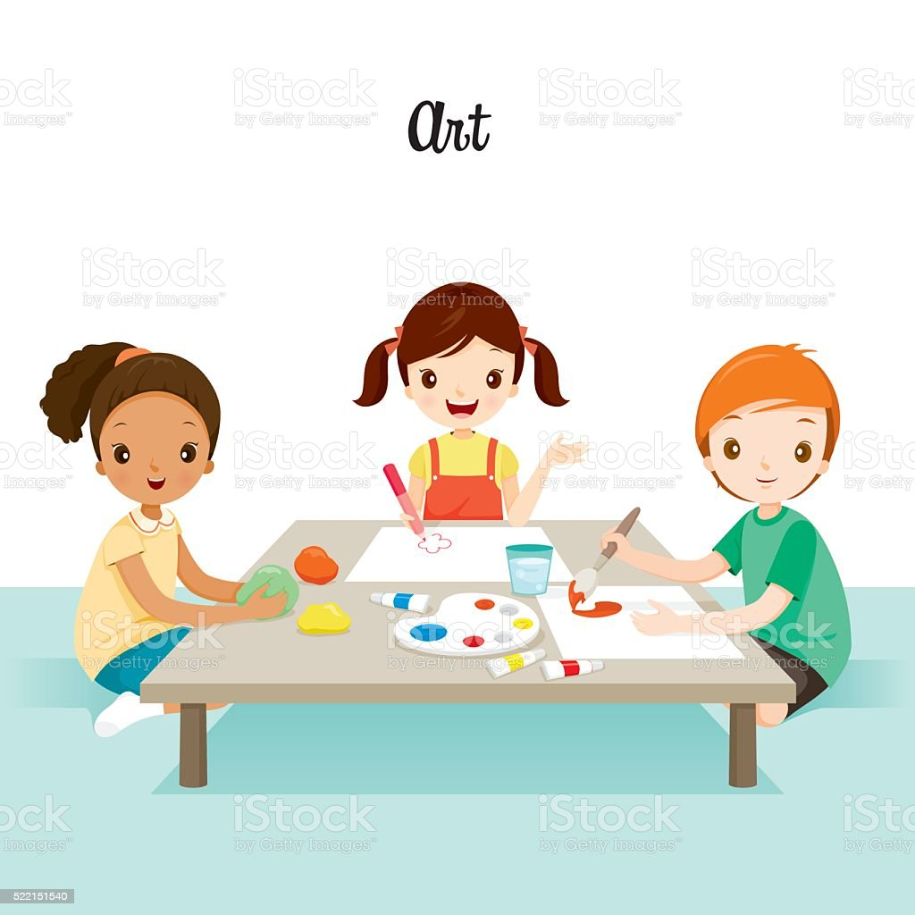 Children Relaxing In Art Class vector art illustration