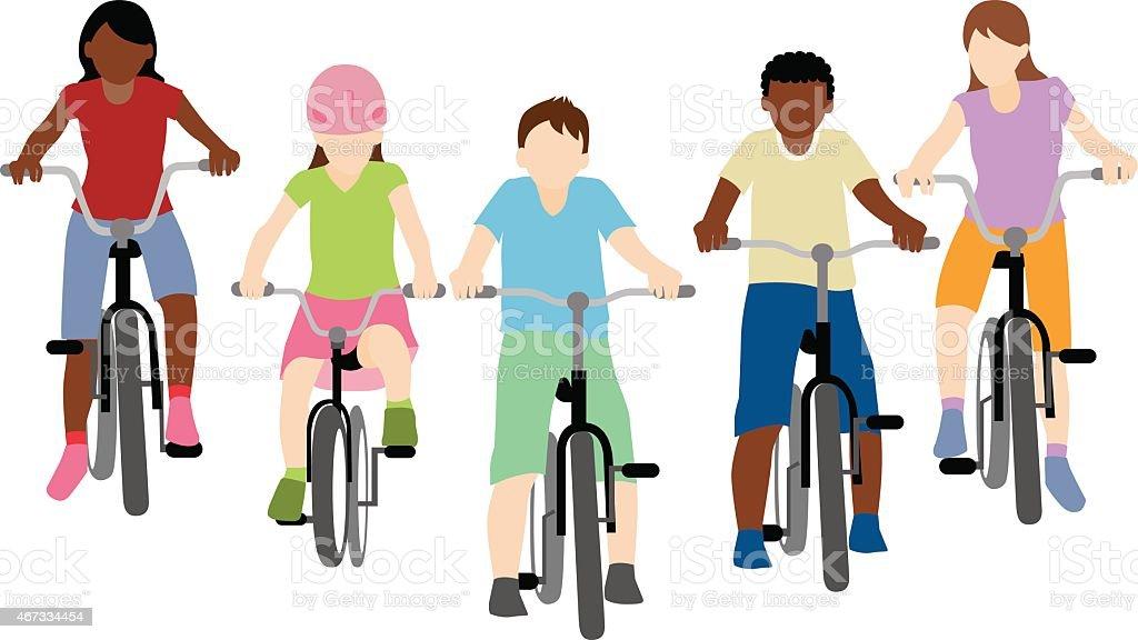 children riding bicycle vector art illustration