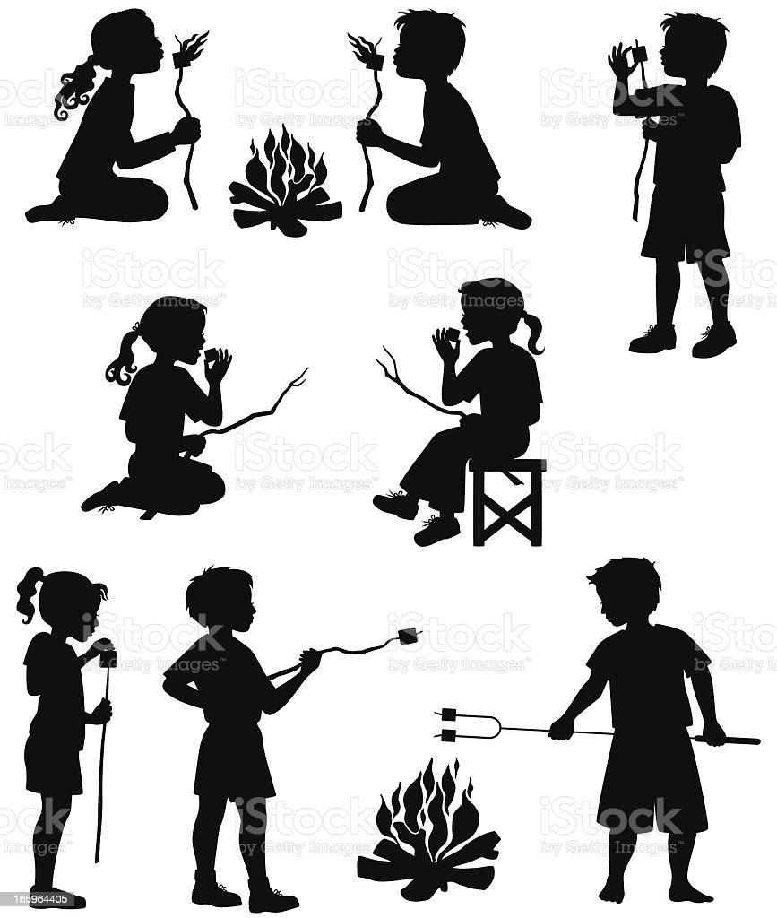 Children Roasting Marshmallows vector art illustration