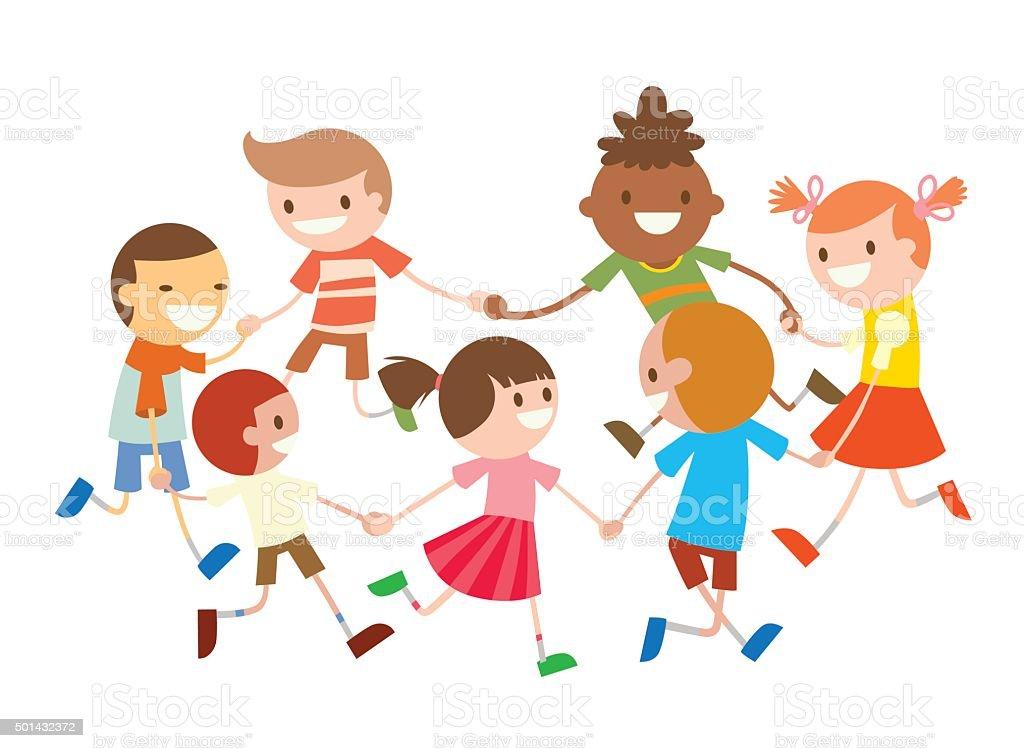 Children round dancing. Party dance in baby club illustration vector art illustration