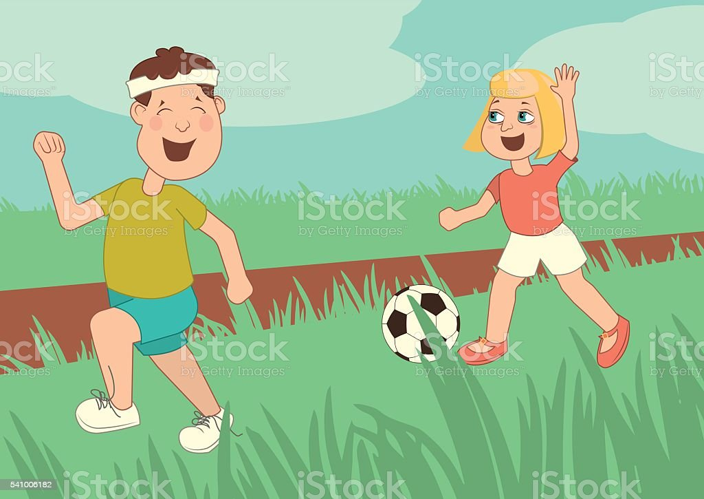Children run,  are playing football, little kids having fun,  running royalty-free stock vector art
