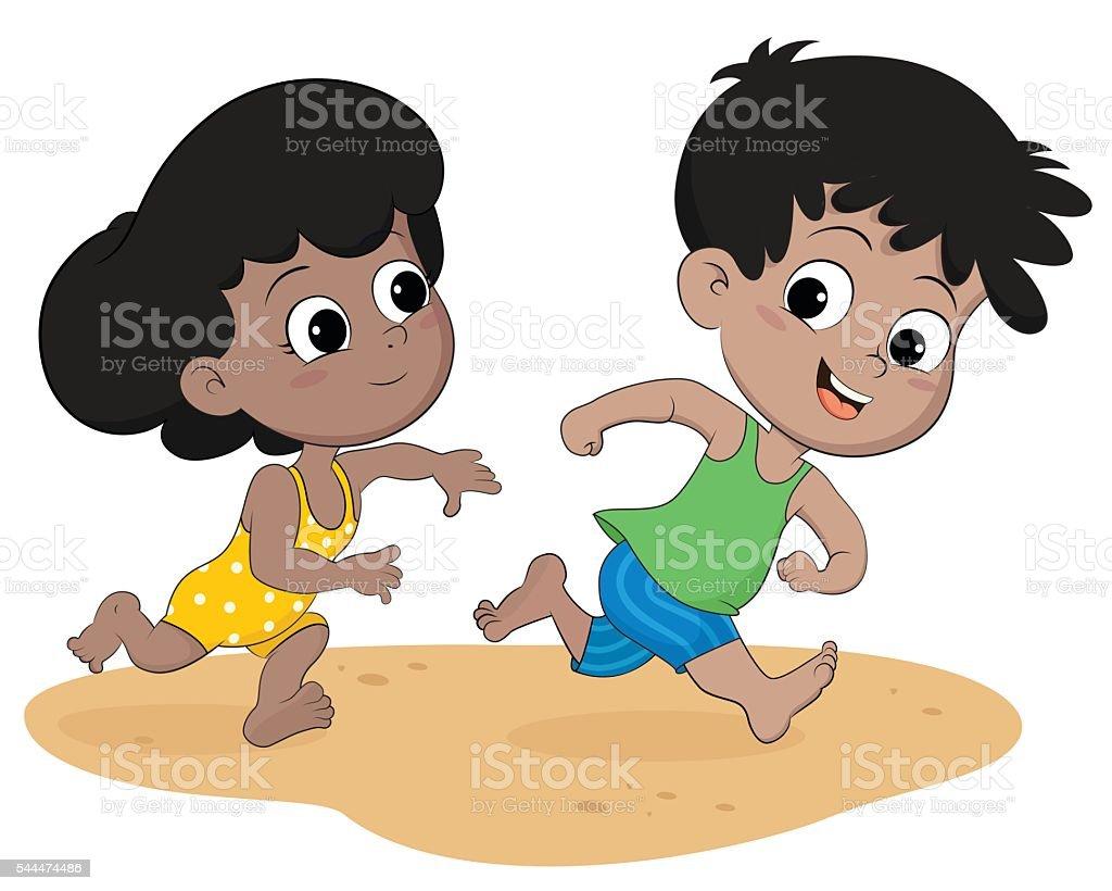 Enfants courir sur la plage stock vecteur libres de droits libre de droits