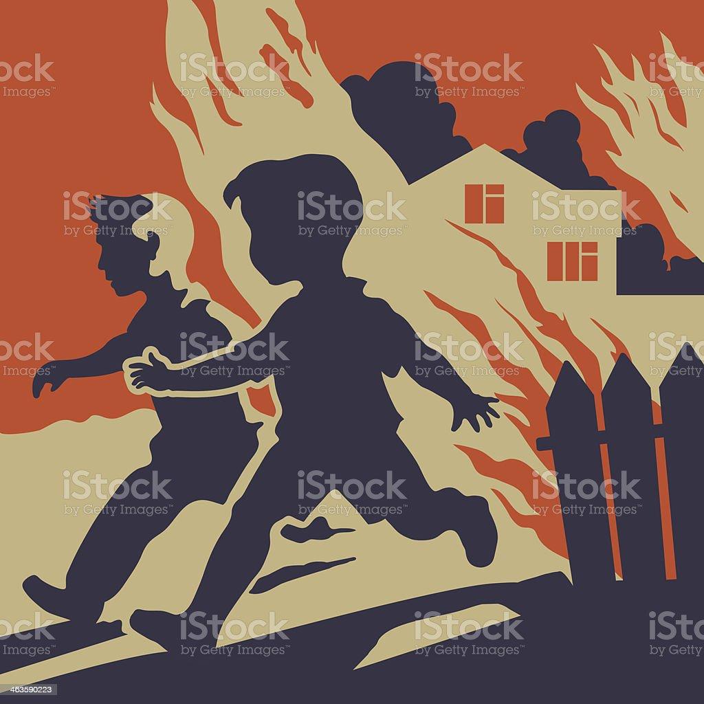 Children running away from fire flames vector art illustration