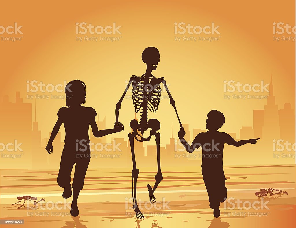 Children Running with a Skeleton royalty-free stock vector art