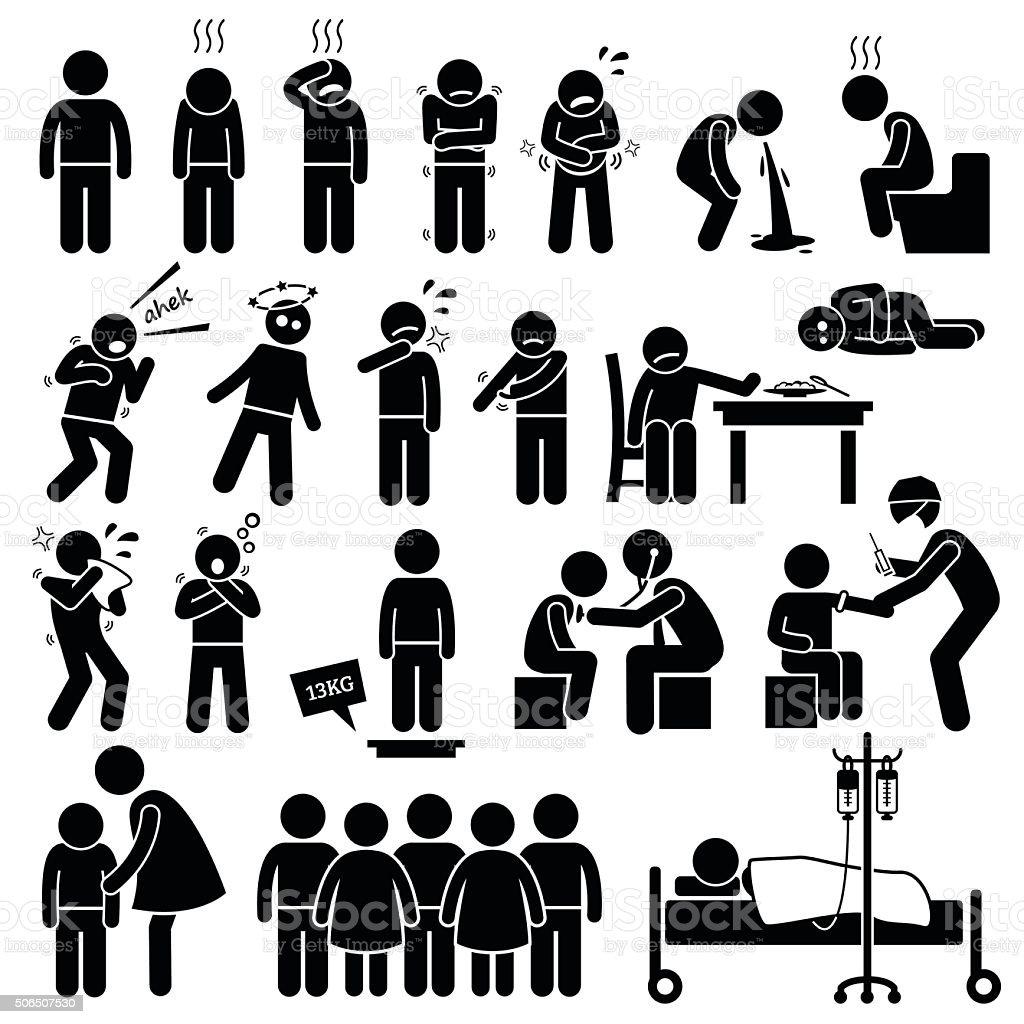 Children Sick Sickness Ill Illness Disease Flu Problem Health Illustrations vector art illustration
