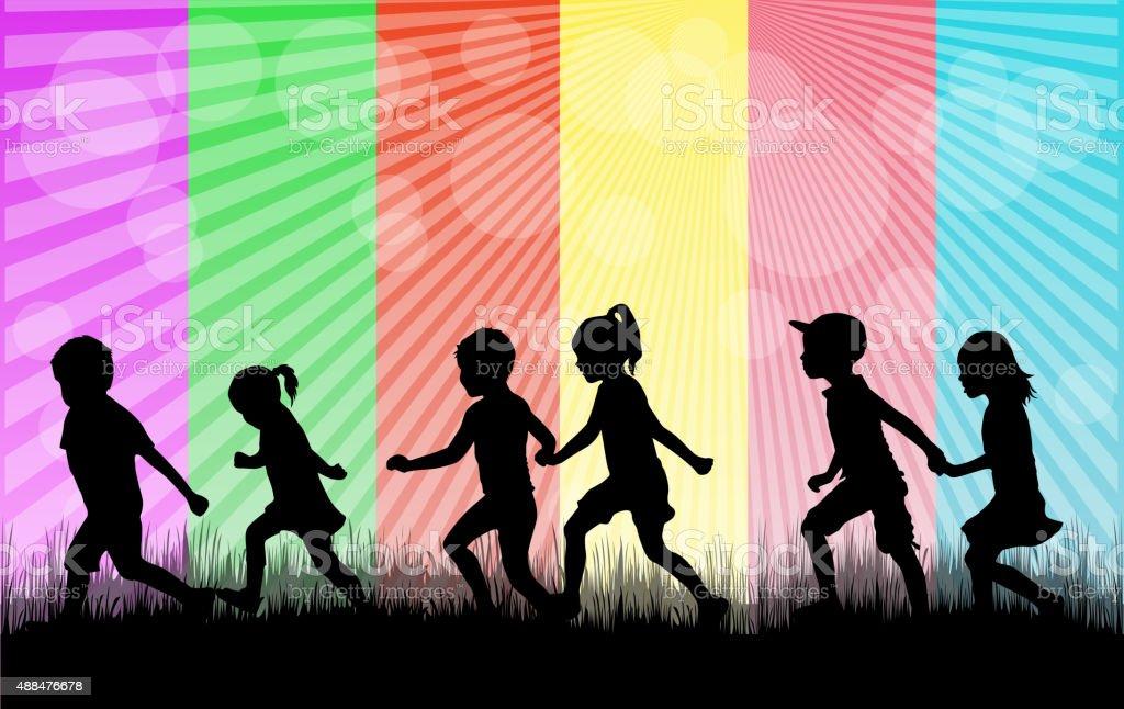 Children silhouette in nature . vector art illustration