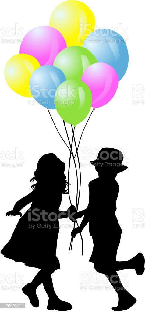 children silhouette royalty-free stock vector art