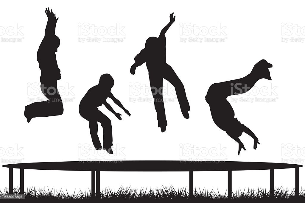 ... silhouettes jumping on garden trampoline vector art illustration