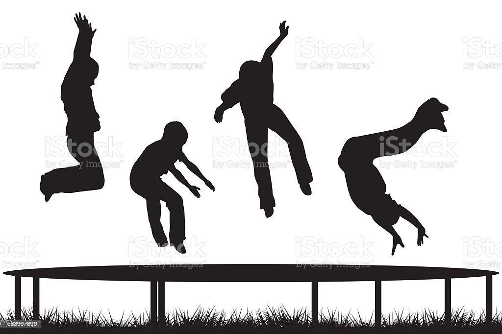 Children silhouettes jumping on garden trampoline vector art illustration