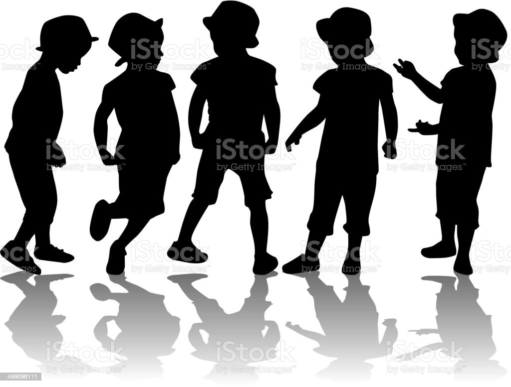 children silhouettes royalty-free stock vector art