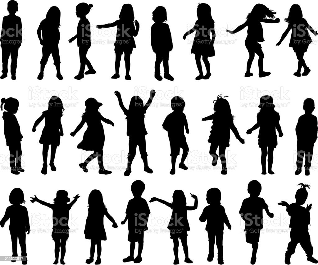 children silhouettes vector art illustration