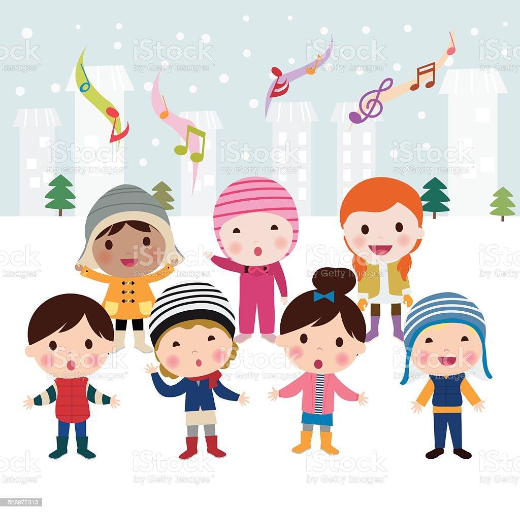 Children singing carols vector art illustration