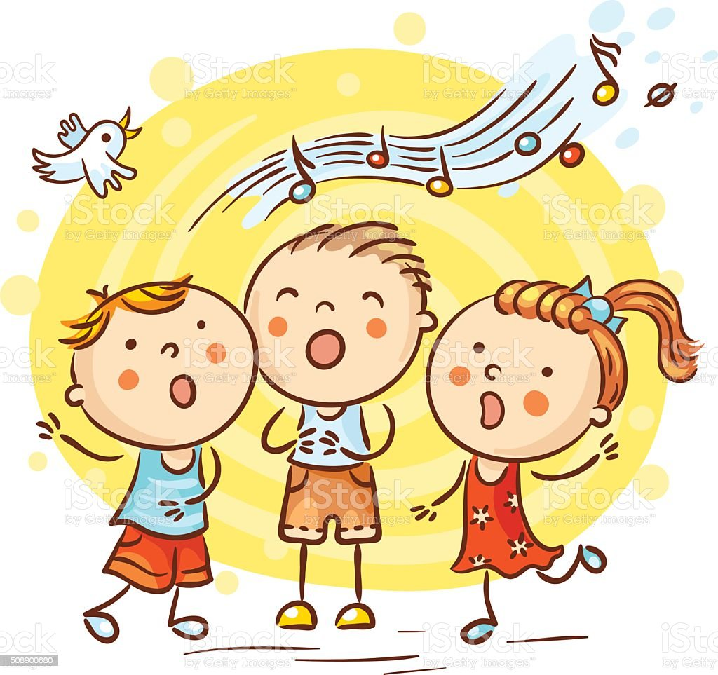 Children singing songs, colorful cartoon vector art illustration