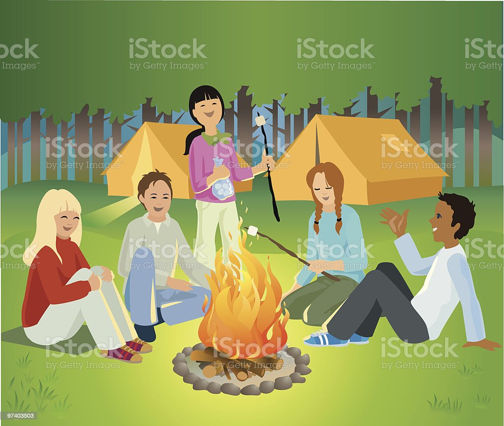 Children Sitting Around Camp Fire Talking and Laughing vector art illustration