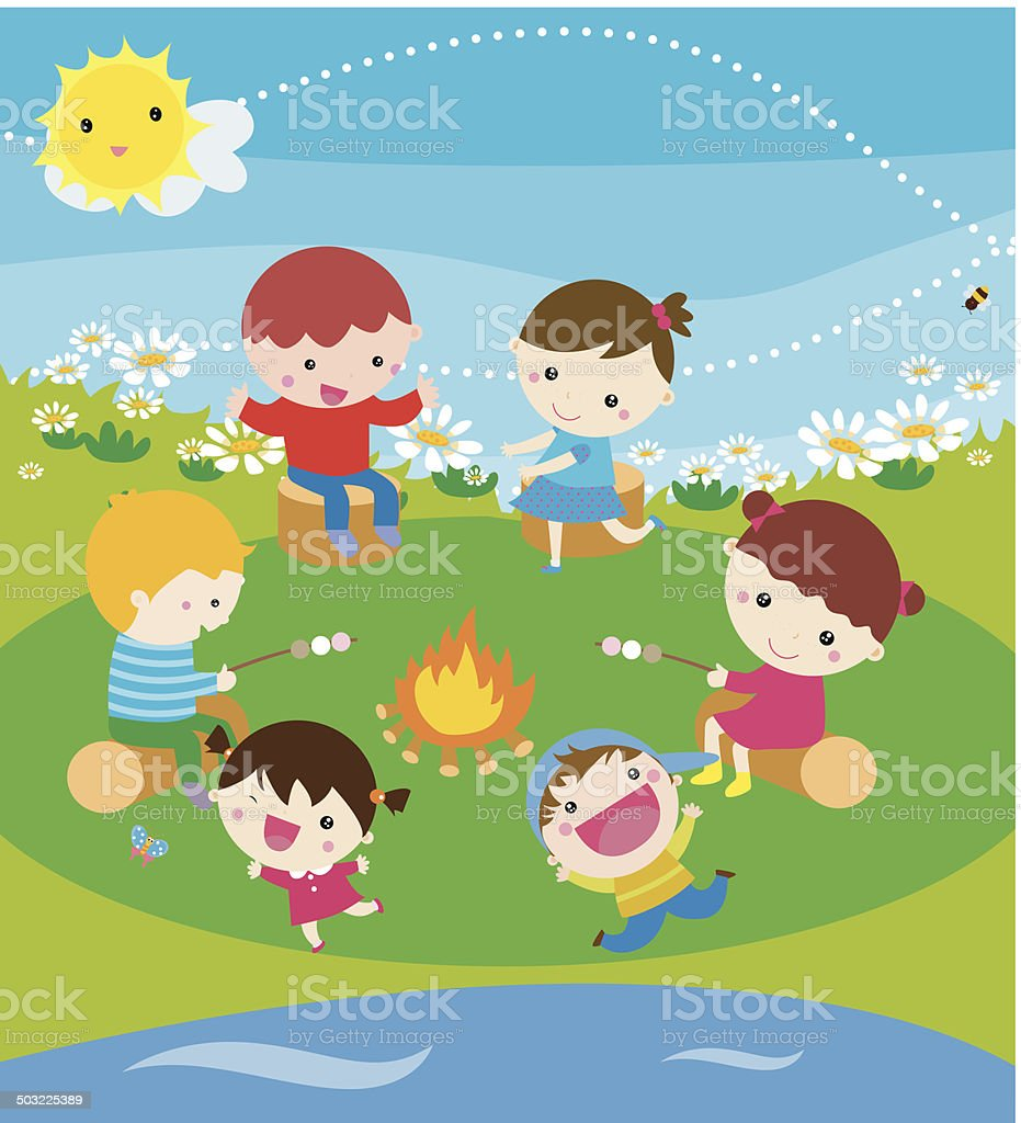Children SiTtting Around Camp Fire alking and Laughing vector art illustration
