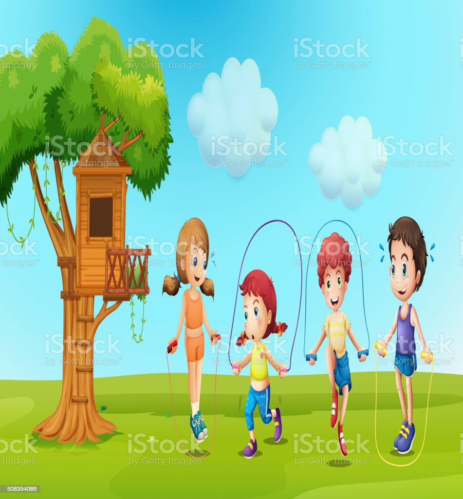 Children skipping rope in the park vector art illustration